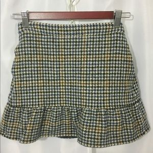 Herringbone Mini Lined Wool Skirt Size 0